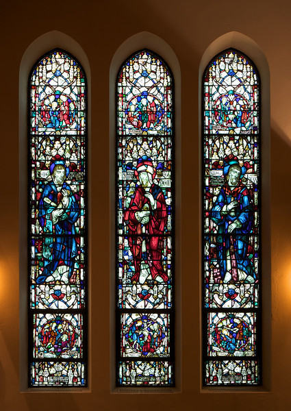 Saint James' Church Stained Glass Window of Thomas, Matthew, and James the Less by Charles Connick