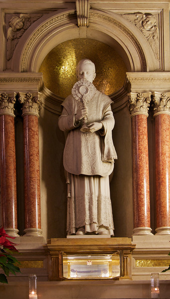 """Shrine of Saint Peter Julian Eymard <br><br> From the<a href=""""http://stjeanbaptisteny.org/History/Architectural-Tour""""> Saint Jean Baptiste website,</a> number 13-16: <br><br> """"The altar to the right of Saint Joseph's Altar contains the shrine of Saint Peter Julian Eymard (1811-1868), the founder of the Congregation of the Blessed Sacrament.  Under the statue of Saint Peter Julian where the tabernacle is usually located, a specially designed receptacle encloses a reliquary containing the right arm humerus bone of the saint.  The relic was brought from Paris to Saint Jean Baptiste by the Very Reverend Vincenzo Di Lorenzo, Consultor General of the Blessed Sacrament Congregation."""""""