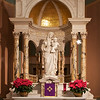 "Altar of the Blessed Virgin <br><br> From the<a href=""http://stjeanbaptisteny.org/History/Architectural-Tour""> Saint Jean Baptiste website,</a> number 13-16: <br><br> ""The statue at the altar of the Blessed Virgin depicts Our Lady of the Blessed Sacrament, a title created by Saint Peter Julian Eymard.  The Virgin Mary holds in her left arm the infant Christ who presents the Eucharist to the world while her right hand is raised in awe and reverence.  The statue was sculptured in Carrara marble by Alberto Galli at the Vatican Studios in 1913."""