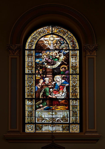 """Saint Jean Baptiste Catholic Church Stained Glass Windows by Charles Lorin <br><br> From the<a href=""""http://stjeanbaptisteny.org/History/Architectural-Tour""""> Saint Jean Baptiste website,</a> number 4: <br><br> """"Saint Jean Baptiste features several sets of stained glass windows.  The most important and visually dominant are the windows of the nave (including the apsidal chapels) and clerestory (second level).  These beautiful windows were designed and crafted by the Chartres, France, atelier of Charles Lorin between 1914 and 1919.  Due to the danger of shipping during World War I, they were kept in France and, therefore, not installed until 1920.  Along with the Lorin windows in Saint Patrick's Cathedral, these are the only examples in New York of the superb craftsmanship of this workshop.  <br><br> Like most of the church's decorative elements, the windows reflect the Eucharistic focus of Saint Jean Baptiste and the Congregation of the Blessed Sacrament.  The nave windows depict events in the life of Christ (mostly on the north wall) and subsequent Eucharistic events or doctrines in the life of the Catholic Church (south wall).  The clerestory windows depict Old Testament scenes that are pre-figurations of the events in the lower windows, once again with an emphasis on those that pre-figure the Eucharist.  The forms and compositions of the designs may be traced to the great tradition of French classicizing history painting, from Poussin in the seventeenth century to nineteenth-century masters such as Ingres and his followers."""" <br><br> From the website of <a href=""""http://sjearchives.org/history-of-the-stained-glass-windows.php"""">Saint John the Evangelist Catholic Church in Green Bay, Wisconsin:</a> <br><br> """"The """"Lorin de Chartres"""" Studio or Atelier Lorin was founded by Nicolas Lorin (1815 – 1882), a master of painted and stained French art glass, in 1863.  His wife, Madame Veuve Lorin and his son Charles Lorin (1874 – 1940) took over the studio upon Nicolas' death. """