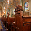 Saint Jean Baptiste Oak Pews<br /> <br /> I was attracted to the detailed carvings in the solid oak pews. They look old and I assume that all of the carvings were done by hand.
