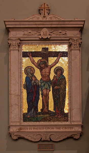 "Saint Jean Baptiste Catholic Church Mosaic <br><br> From the<a href=""http://stjeanbaptisteny.org/History/Architectural-Tour""> Saint Jean Baptiste website,</a> number 5: <br><br> ""The fourteen Stations of the Cross ― devotional images for contemplating the redemptive passion and death of Jesus ― are situated on the north and south walls of the church.  These beautiful mosaic tableaux, framed in marble, offer a display of rare artisanship.  The traditional figures and groups are executed in dominant green tones offset by bright reds and soft browns.  The Gorham Company of New York designed and produced each station."""
