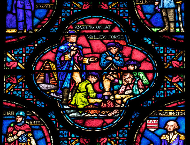 Saint John the Divine Armed Forces Bay Stained Glass Window by Ernest Lakeman<br /> <br /> The lancets show scenes from famous battles.