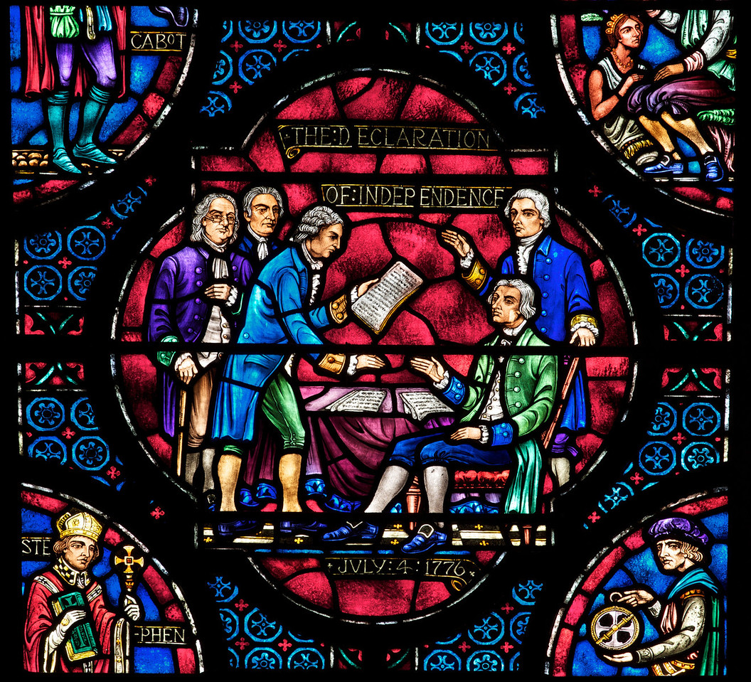 Saint John the Divine American History Bay Stained Glass Window by Ernest Lakeman<br /> <br /> The lancets depict figures and events of significance in American history.