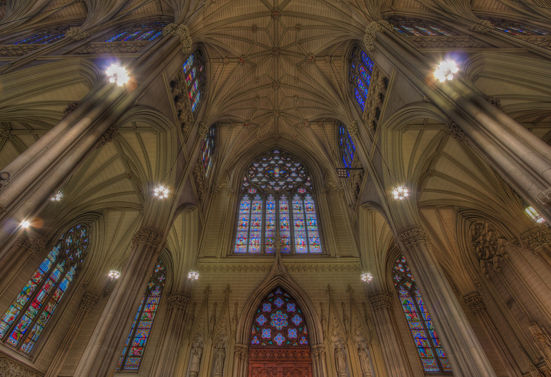 Saint Patrick's Cathedral<br /> <br /> This is the south transept of Saint Patrick's Cathedral. This is in HDR with three exposures ranging from 0.6 seconds to 10 seconds (-2, 0, 2) at 100 ISO, f8.0. The camera was supported by a GorillaPod resting on a side pew.