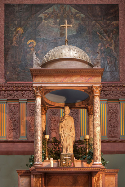 """Saint Joseph Altar <br><br> Stanford White designed the Saint Joseph altar. The statue was modeled after Chandler Berrian, the donor, who was a son of one of the early rectors of Trinity Episcopal church and a convert to Catholicism. <br><br> Today, the church is active in working with artists, sponsoring art exhibits at the church, providing networking opportunities, and fostering dialog in the artistic community. <a href=""""http://openingsny.com/"""">Openings NY</a>, a project of the Paulist Fathers for artists, has regular exhibits (generally at the church) exploring broad spiritual themes. A recent exhibit explored the elusive mystery of spirit, body, and soul through a variety of visual media, including photography, painting, drawing, mixed media, and sculpture while another featured the work of Iraqi refugees. Frank Sabatté is the director of Openings NY. Frank is an artist and Paulist father and his work is presented on his <a href=""""http://www.sabatteart.com/"""">website.</a> Frank kindly provided me with detailed information on the church that I have used in this gallery."""