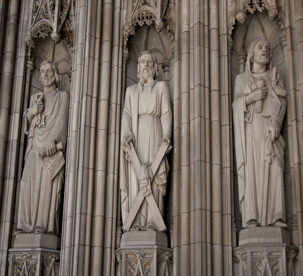 Saint Thomas Fifth Avenue Entrance Jamb Statues<br /> <br /> Jamb statues of Saint Peter, Andrew, and James the Great.