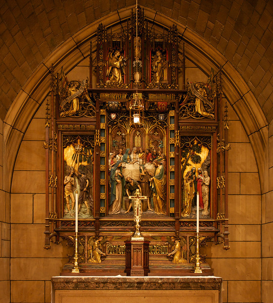 Saint Thomas Church Chantry Chapel<br /> <br /> This is the gilded and polychromed wood reredos in the Chantry Chapel and is Florentine in design.