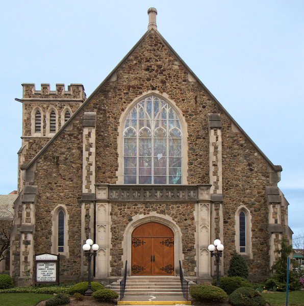 "The Second Reformed Church, Hackensack, New Jersey <br><br> According to <a href=""http://www.secondreformed.org/571348"">the church website</a> The Second Reformed Church was organized in October 1855 with the first service in November 1855. Their first church building was erected in 1856 but was destroyed by fire in 1907. The cornerstone of the present church was laid in 1908. It is constructed of fieldstone taken from the stone walls of nearby farms. The education and administration wing was built in 1964-65 and is also constructed of fieldstone. The church features wonderful Louis Comfort Tiffany stained glass windows. The large angel window seen here, The Angels of Praise, was exhibited at the 1893 International Exhibition in Chicago. The church also features a 38 rank Austin pipe organ, installed in 1978.  <br><br> The church is located at Union Street between Anderson and Ward Streets and is easily accessible by bus from New York City (#165 New Jersey Transit bus from Port Authority)."