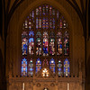 "Trinity Church Reredos and Stained Glass Windows (windows designed by Richard Upjohn and reredos by Frederick Clarke Withers)  According to the Trinity website, the stained glass windows are considered to be some of the oldest in the U.S. The windows were made on site, in a shed erected in the churchyard during the church's construction. Church architect Richard Upjohn (1802-1878) designed the windows.   Upjohn was an English-born architect who emigrated to the U.S. and became most famous for his Gothic Revival churches. He was partially responsible for launching the movement to such popularity in the U.S. Upjohn, along with 13 other architects, co-founded the American Institute of Architects in 1857. He served as president from 1857 to 1876. The  <a href=""http://www.trinitywallstreet.org/news/articles/richard-upjohns-world"">Trinity website</a> has a list of the hundreds of U.S. churches designed by Upjohn.  Upjohn is honored together with architect Ralph Adams Cram and artist John LaFarge with a feast day on the liturgical calendar of the Episcopal Church (USA) on December 16.  In 1876-1877 a reredos and altar was erected in memory of William Backhouse Astor, Sr., to the designs of architect Frederick Clarke Withers."