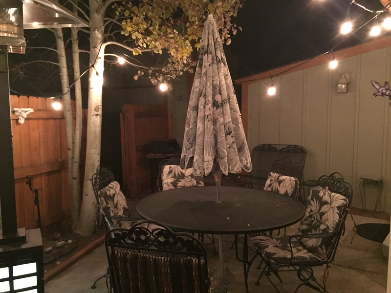My favorite room. The patio with heater and bistro lights.