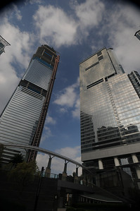 ICC is on the left and still under construction.  Will be the tallest building in Hong Kong at completion, 484 meters or 1,587 feet.  My building is on the right.  The W hotel occupies floors 1-50, then the serviced apartments I'm in 50-70.  Pool is on the roof.