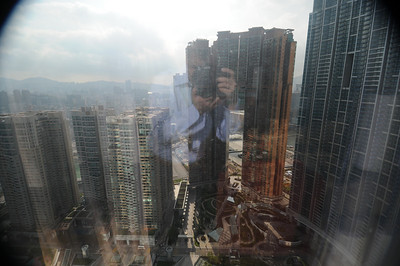 Looking East at Kowloon.  Lots of reflections on the glass make it look more hazy than it really is.