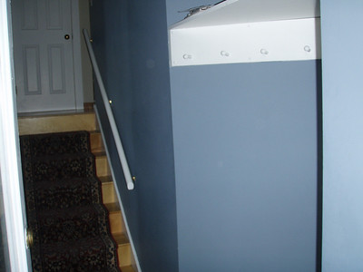 Stairs up to door into apartment.