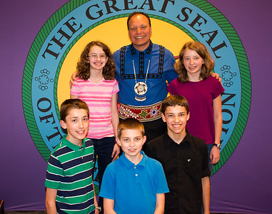 Chief with 13-year-old quintuplets Nataleigh, Cathryn, Joseph, Jonathan and Joshua Faylor at Houston cultural community meeting.