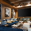 "Such a luscious media room, rich blues and Hermes gold wallpaper. What's not to love!  <a href=""http://www.connieandersonphotography.com"">http://www.connieandersonphotography.com</a> #interiordesignphotography #architecturalphotography"