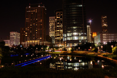Skyline in the Discovery Green reflection pond