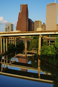 Reflections of the skyline in Buffalo Bayou