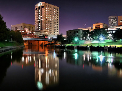 Harris County Criminal Courts Building at night in HDR