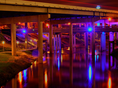 Buffalo Bayou at night under Interstate Highway 45 IH-45