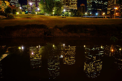 Houston Skyline reflection at night