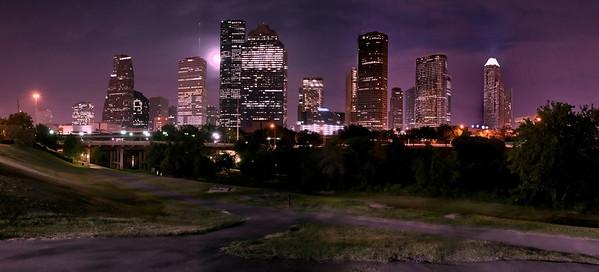 Houston Skyline on a Full Moon Rising