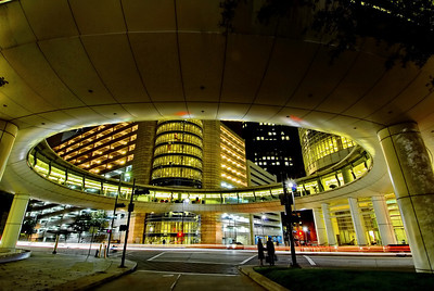 """""""Aliens Land in Downtown Houston"""" Houston Allen Center Skybridge looks like a flying saucer has landed in downtown and deposited two aliens on the sidewalk."""