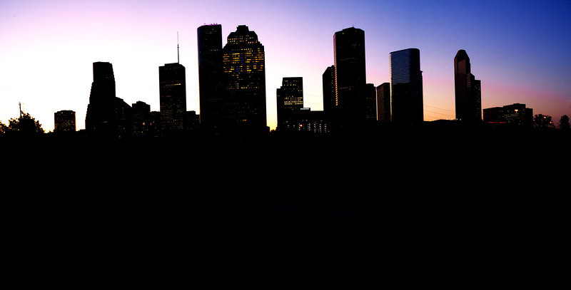 Panoramic photo of Houston, Texas skyline at dawn This photo is available for $100.