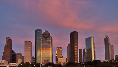 Houston Skyline in Pink Light Sunset