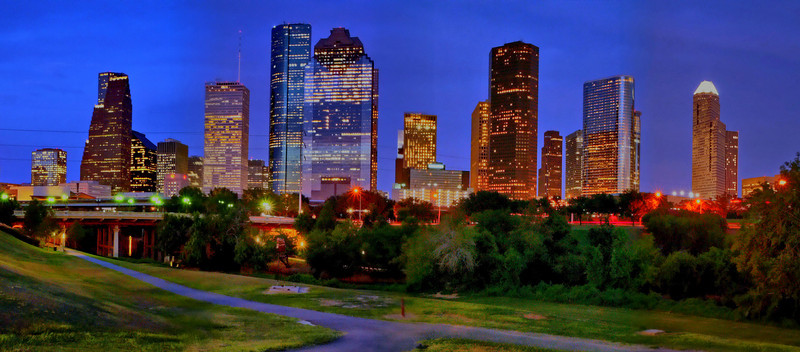 HDR skyline of Houston in panorama and HDR