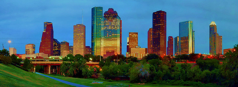Houston skyline in HDR (High Dynamic Range) in panoramic size