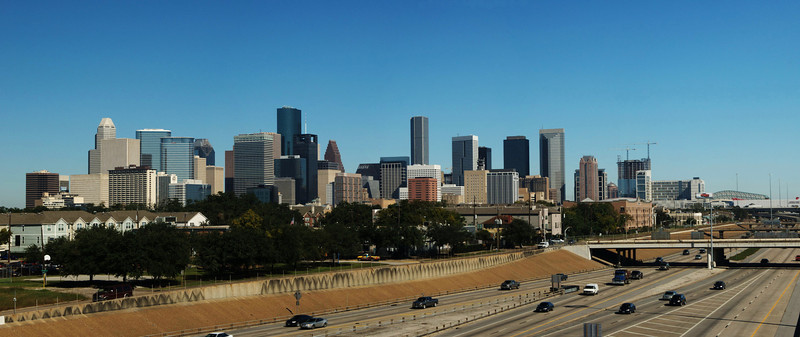 Houston skyline from SH288, a panoramic photograph  $100