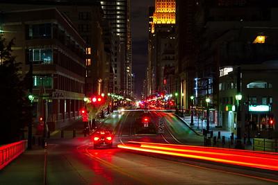 Houston's Main Street at Night