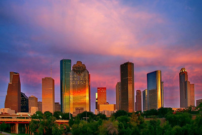 Houston Skyline in Pink Light