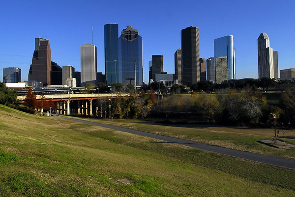 Houston skyline late in the day