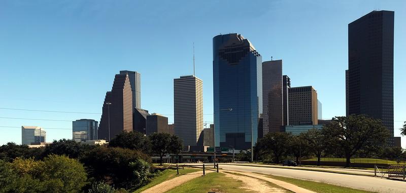 Allen Parkway panorama view of Houston, Texas