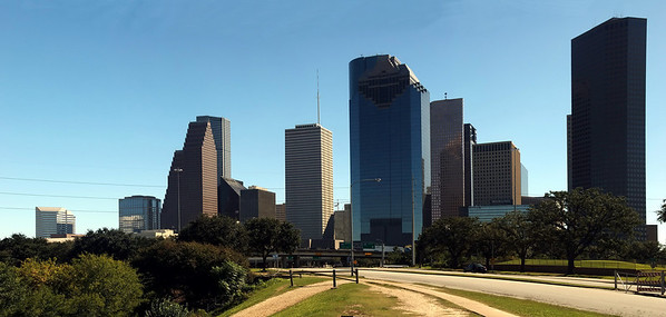 Allen Parkway panorama view of Houston, Texas