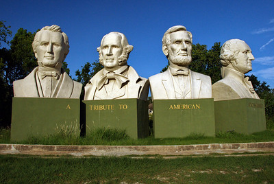 Stephen F. Austin, Sam Houston, Abraham Lincoln and George Washington  Sculpture by  David Addickes of Houston, TX They are visible from IH-10 Milam St entrance and can be found off of Dart St and Houston Ave.