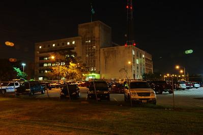 61 Riesner Street at night, HPD Headquarters 1947-1997