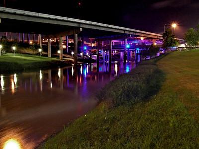 Buffalo Bayou lights behind the Hobby Center