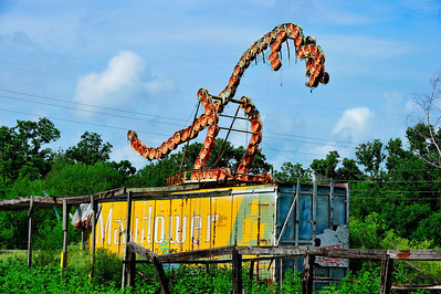 """Approaching Houston from the west just past the Brazos River is a """"Wheelosaurus"""".  This dinosaur has no teeth."""