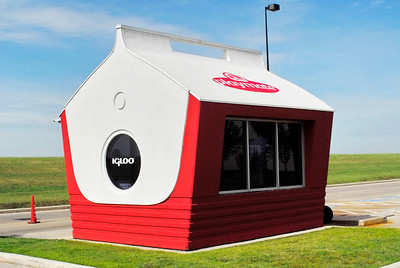 The largest Igloo Playmate cooler in the world......It's the guard shack going into the Igloo Corp in Brookshire.