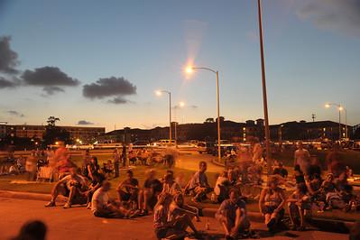 July 4th Fireworks  Crowd at Waugh Dr. Bridge