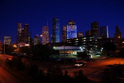 Houston Skyline taken from the pedestrian bridge over Memorial Drive at Sabine Street