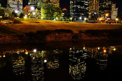 Skyline reflections in Buffalo Bayou (you have to get down on the bank at the water's edge for a shot like this)
