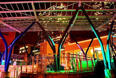Jesse H. Jones Plaza in Houston, Texas, The colors of the steel structure comes from the reflected light of the Angelika Film Center in the Bayou Place across the street.