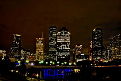 Houston, Texas skyline view from Buffalo Bayou near Sabine Street bridge