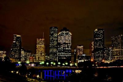 Houston, Texas skyline view from Buffalo Bayou near Sabine Street bridge