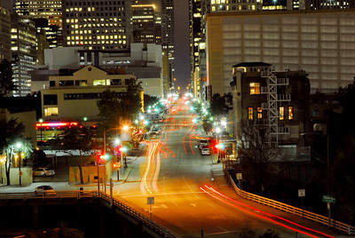 Milam Street into downtown from Interstate 10.  Photo taken from U of H Downtown plaza