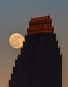 Moonrise along Bank of America building in Houston # 2